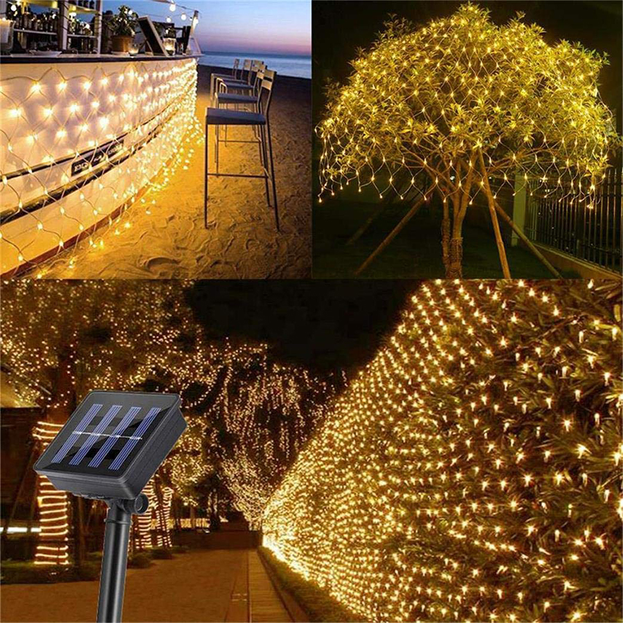 Solar Powered 2mx3m 204 LED Net Mesh String Light Outdoor Waterproof Christmas Wedding Party Window Garden Curtain Net Lights