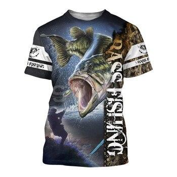Tessffel New Fashion Animal Art Marlin Bass Hunting Fishing Hunter Camo Fisher 3DPrint Unisex T-shirt Short sleeve Men/Women s-2 1