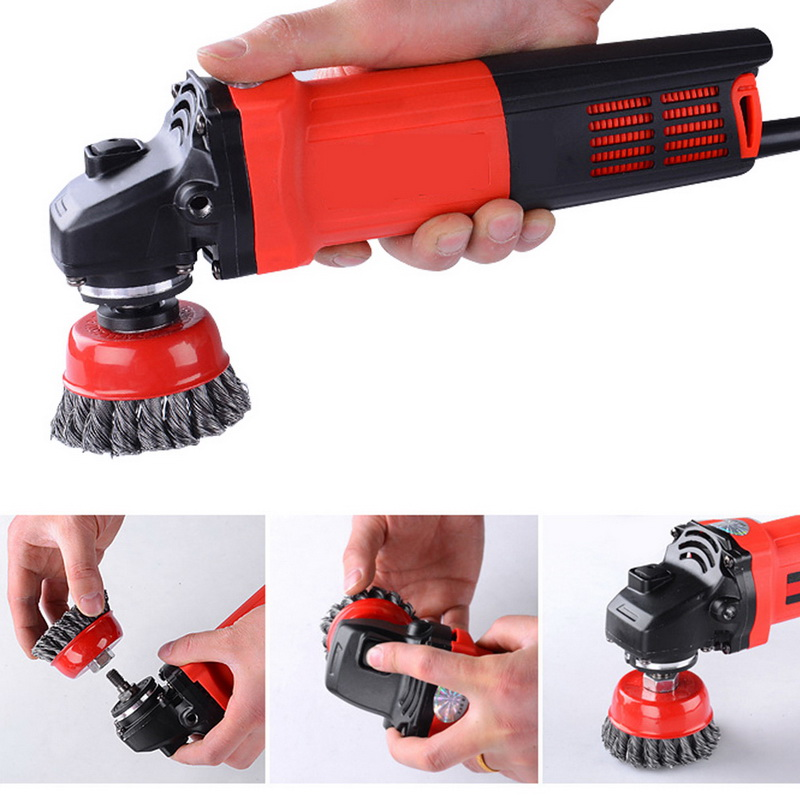 New Mayitr Rotary Strong Metals Twist Knot Wire Wheel Cup Brush Set Kit 115mm M14 Angle Grinder Abrasive Tools