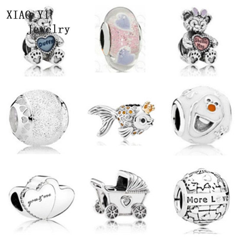 XIAOYI 100% 925 pure silver genuine numerous new fish and dog toy bear earth heart-shaped beads trailer bracelet