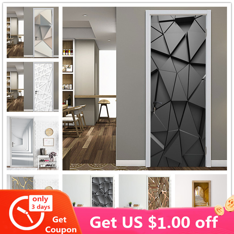 2PCS/Set Fashion Geometric Door Sticker Wallpaper On The Door Home Decoration Self Stick Wallpaper Waterproof Renovation Poster
