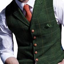Mens Suit Vest Notched Plaid Wool Herringbone Tweed Waistcoat Casual F