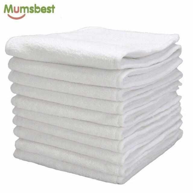 [Mumsbest] 10 Uds. De pañales de tela reutilizables lavables para bebés, encartes de microfibra de 3 capas
