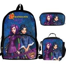 Novo quente 3 pçs saco de escola conjunto descendentes 3 impressão mochila escolar para adolescentes meninos meninas estudante saco de livro de viagem mochilas