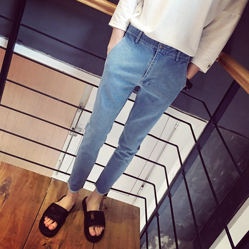 Simple Trousers 2020 Fashion Letters Embroidery Teenagers Cowboy Street Trendy Men's Pants Slim Teenagers Feet Harem Jeans