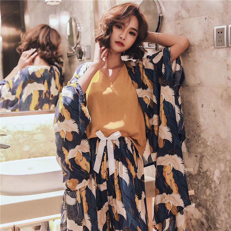 JULY'S SONG 4 Pieces  Soft Autumn Winter Women Pajamas Sets  Floral Printed Pajamas Set With Shorts Female Leisure Night Suit
