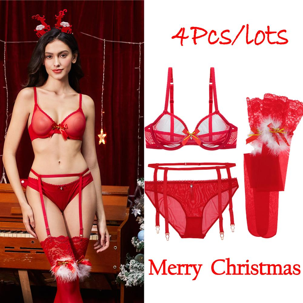 Merry Christmas Lady Sexy Bra Set Underwear Garter Stockings 4 Pieces Of The Birth Year Red Suit