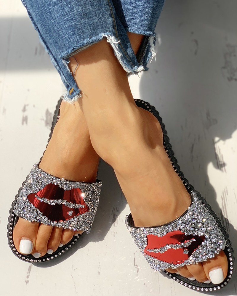 2020 New Women Slippers Summer Red Lips Rhinestone Fashion Female Shoes Wear Non-slip Casual Trend Ladies Sandals Outdoor Home