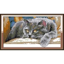 Joy Sunday New arrival Black Cat 2 Needlework DMC DIY Handmade 11CT 14CT Cross Stitch Sets For Embroidery kits Gift Home decor stamped cross stitch kits joy sunday oil painting girl printed 11ct 14ct counted home decor embroidery handmade needlework sets