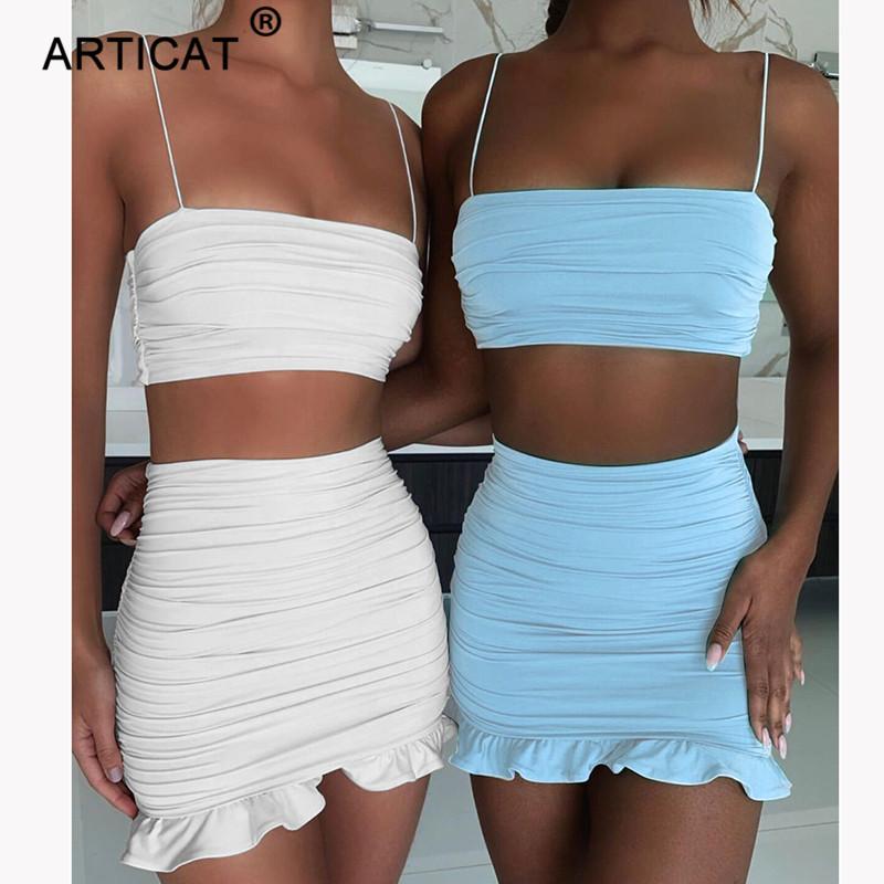 Articat Women Sexy Bodycon 2 Piece Dress Set Ruffles Spaghetti Strap Crop Top Summer Mini Skirts Suits Fashion Solid Outfits