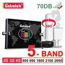 Lintratek 5 bant hücresel amplifikatör LTE B20 800 900 1800 2100 2600 B7 GSM 2G 3G 4G sinyal güçlendirici Omni anten mobil tekrarlayıcı
