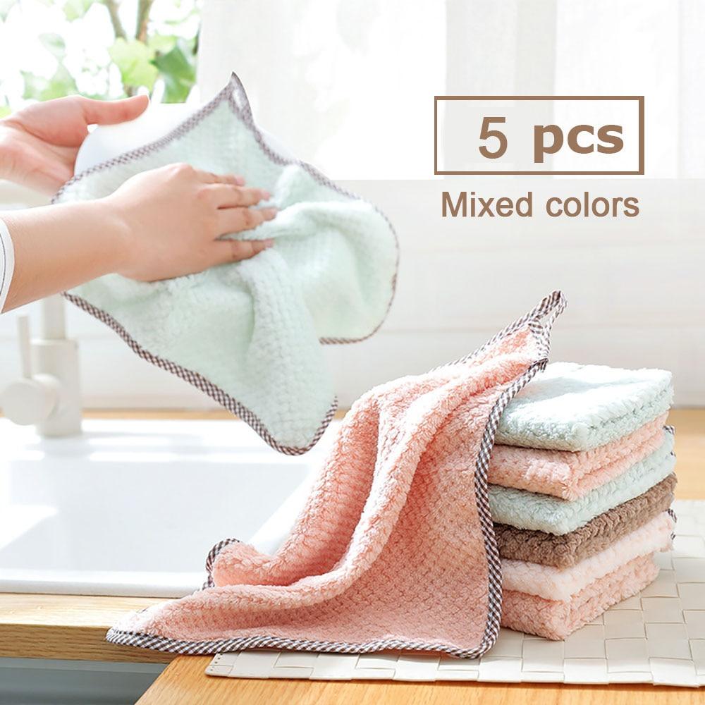 Кухонное полотенце, впитывающее столовое полотенце для уборки дома, с антипригарным покрытием, 25 х25 см, 5 шт.