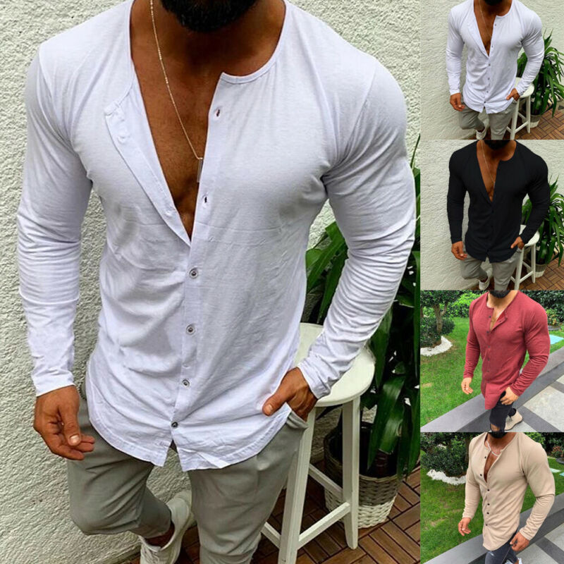 Casual Fashion Men's Slim Fit Button V Neck Long Sleeve Muscle Basic Tee Solid Color T-shirt Casual Tops