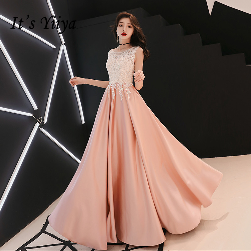 It's Yiiya Evening Dress O-neck Lace Elegant Formal Gowns 2020 Plus Size Evening Dresses Sleeveless Long Robe De Soiree LF129