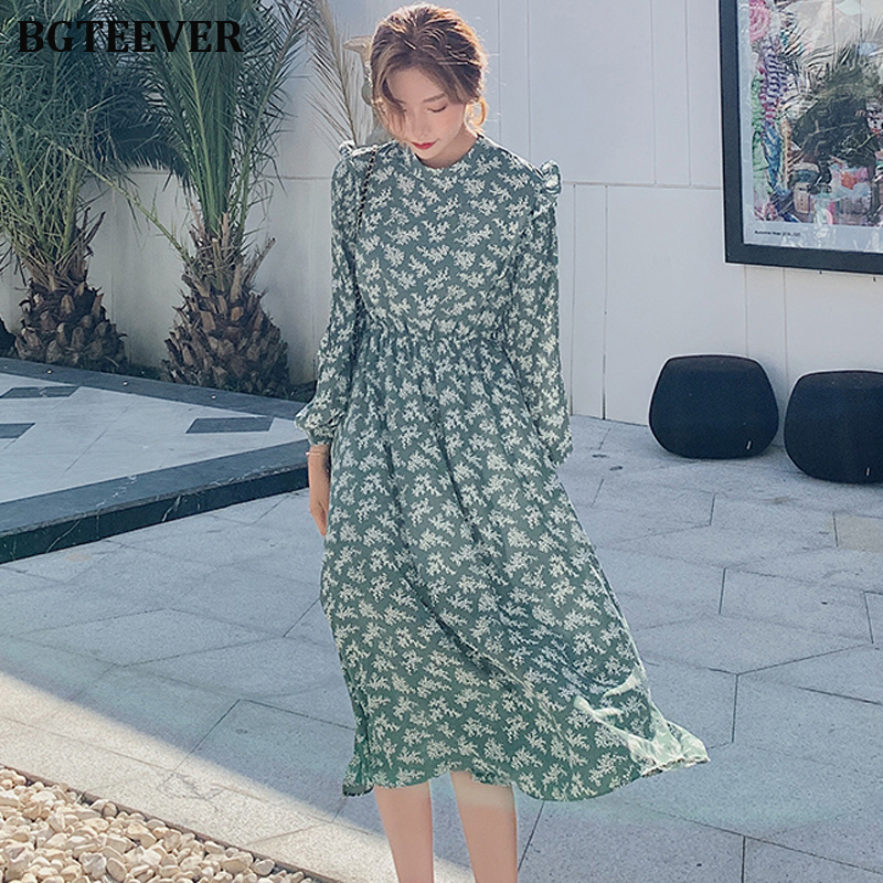 BGTEEVER Elegant Stand Collar Ruffles Women Dress Full Sleeve Elastic Waist Female Chiffon Dress 2020 Spring Midi Vestidos Femme