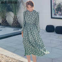 BGTEEVER Elegant Stand Collar Ruffles Women Dress Full Sleeve Elastic Waist Female Chiffon Dress 2020 Spring Midi Vestidos femme