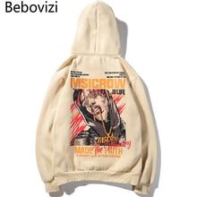 Bebovizi Hip Hop Street Print Fleece Hooded Harajuku Apricot Sweatshirts Pullover Streetwear Mens Hoodies High Quality Hipster