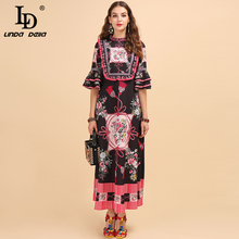 LD LINDA DELLA Fashion Runway Autumn Dress Women's Flare Sleeve Ruffles Floral Printed High Waist Elegant Vintage Long Dresses ld linda della new fashion runway autumn dresses women s half sleeve backless printed high waist elegant casual long dresses