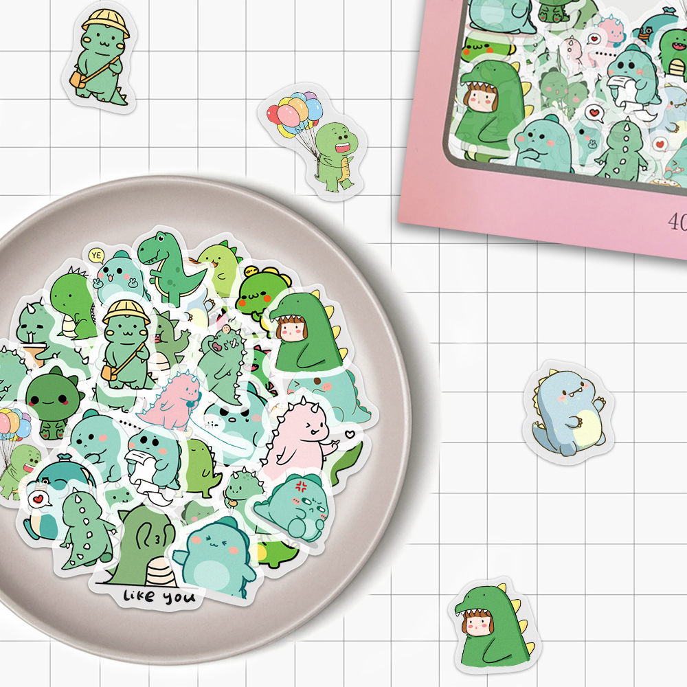 VANMAXX 40 PCS Little Dinosaur Cartoon Scrapbooks Washi Stickers Waterproof Decal for Diary Stationery Album Kids Girls Sticker