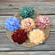 10Pcs Dahlia Head Fake Flower Artificial Flowers Diy Silk Home Decor for Scrapbooking Wreath on The