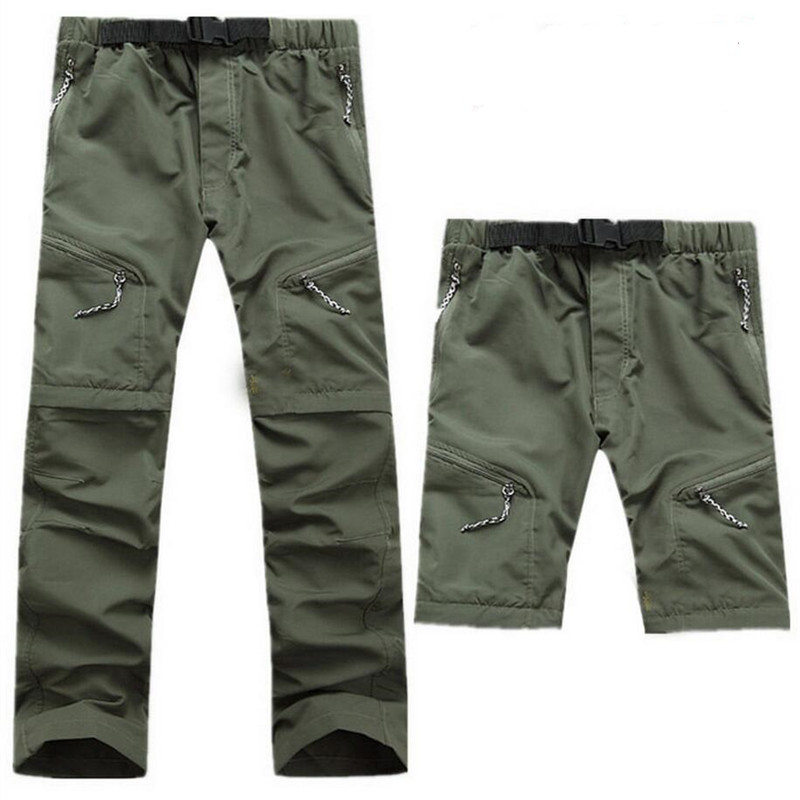 Men Military Detachable Cargo Multi-pocket Pants Quick Dry Breathable Ultra Thin Waterproof Trousers Male Army Tactical Pants