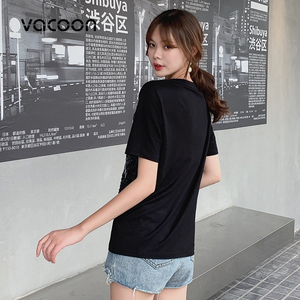 Image 5 - New Female Fashion Summer Tops Women Fake 2 Pieces Casual Sequins T Shirt Short Sleeve Top Tee