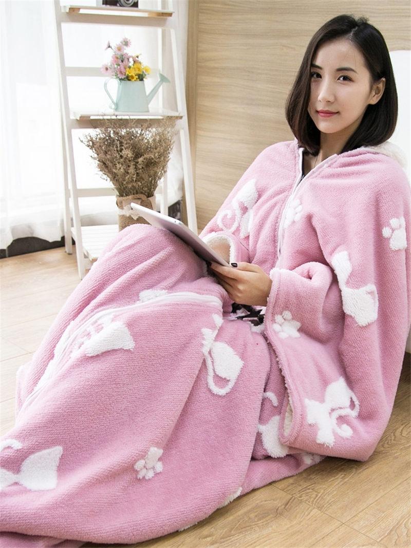 Mmultifonction une pièce pyjamas couverture châle cape avec manche épaissir chaud couette Homewear dame hiver vêtements de nuit en flanelle f2058 - 3