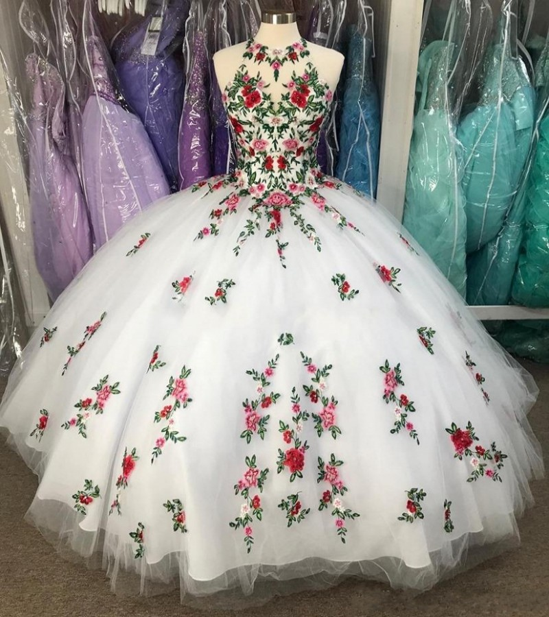 Fabulous White Ball Gown Quinceanera Dresses Embroidery Flowers Sheer Neck Backless Sweet 16 Dress Vestidos