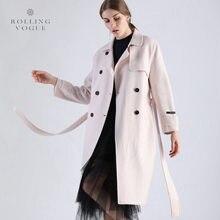 New 2019 Winter Warm Beige Double Breasted Long Cashmere Coat Women Elegant OL Woolen Cocoon Topcoat Luxury Wool Streetwear
