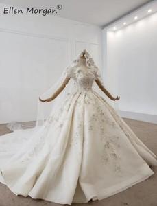 Image 2 - Lüks kristaller dantel balo elbisesi gelinlik kadınlar için suudi arabistan zarif prenses kapalı omuz gelinlikler 2020