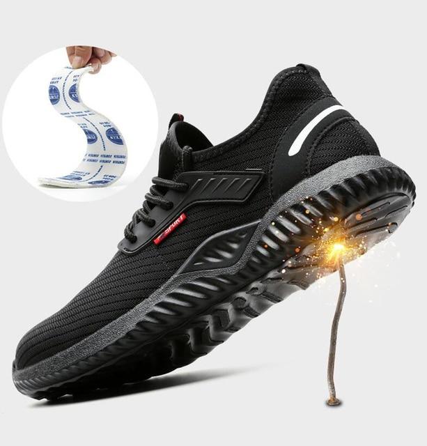 Sapatos indestrutíveis homens sapatos de trabalho de segurança com aço toe cap puncture-proof botas leves tênis respirável dropshipping 3