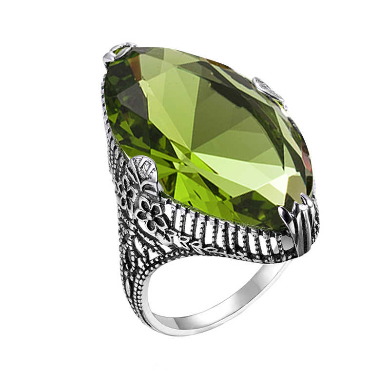 925 Solid Sterling Silver Natural Peridot Gemstone Oval Shape Ring Jewelry Free Shipping