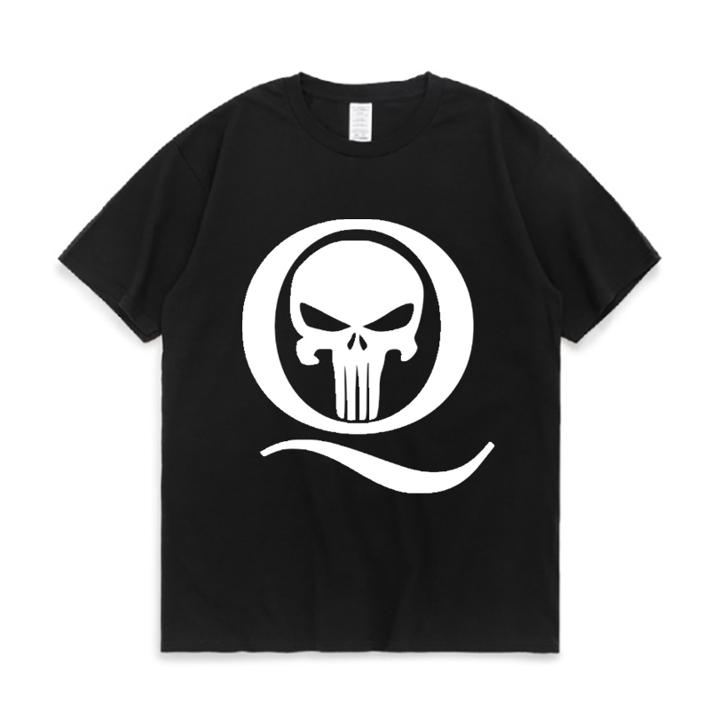 Qanon Q And Punisher Skull Print 100 Cotton Short Sleeve Top In White Men S T Shirt Aliexpress