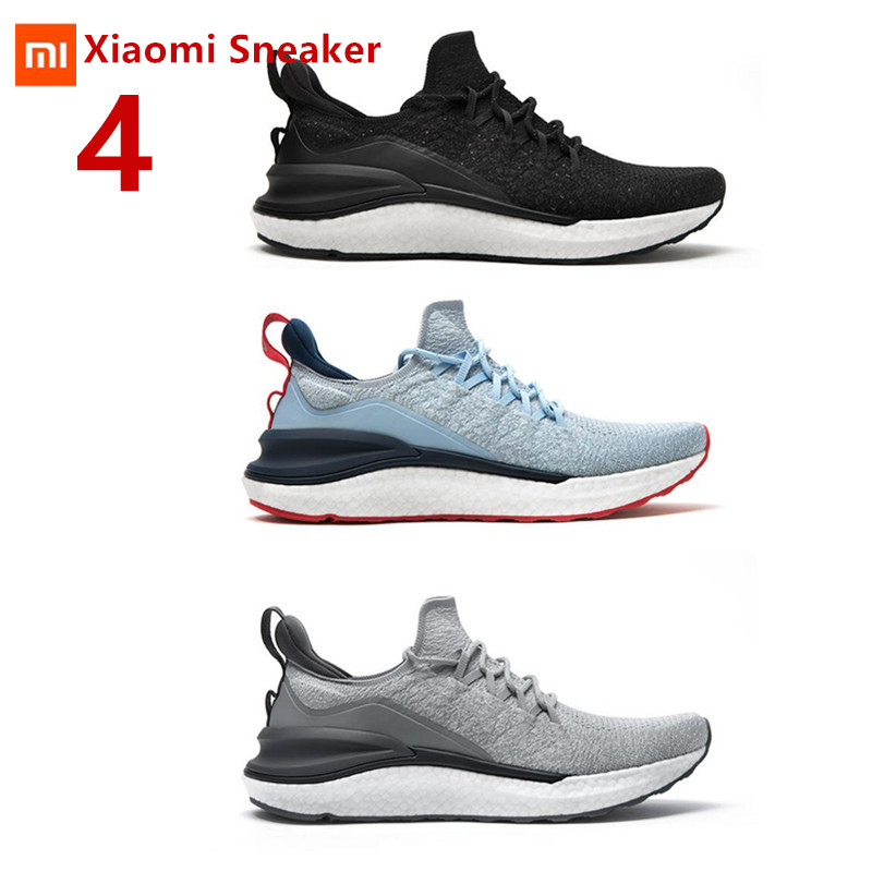 XiaoMi Mijia Men Sport shoes Sneakers Sneaker 4 4th Men Running Lightweight Breathable 4D Fly Woven Upper Washable