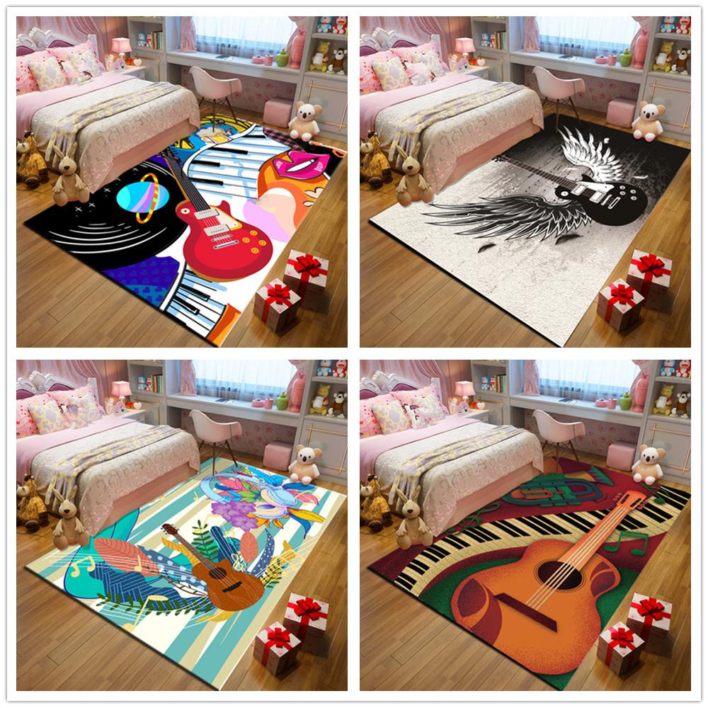 Modern Music Guitar 3D Print PARTY Carpet Baby Game Area Rugs Child Cartoon Play Floor Mat Antiskid Kids Room Crawl Soft Carpets