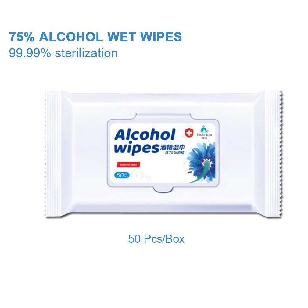 50Pcs Alcohol Prep Pads Disposable Alcohol Wipes 75% Alcohol Sheet For Skin Cleaning Care Jewelry Mobile Phone Clean