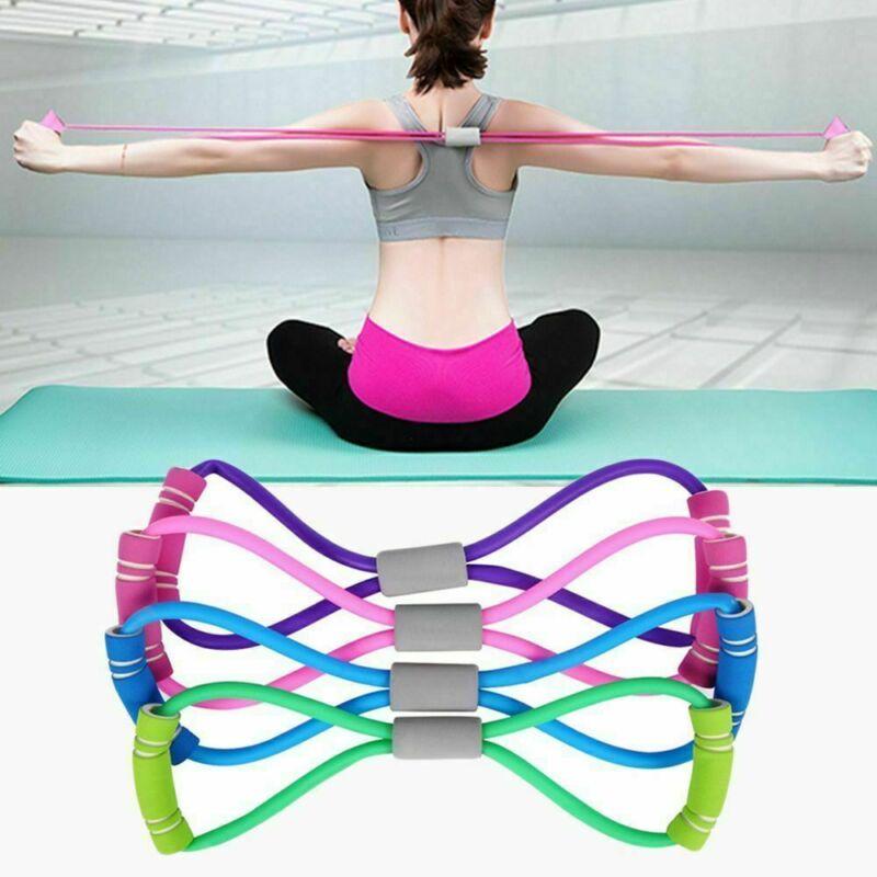 Yeni varış 8 şekil Yoga ralli kayış streç bant halat lateks kauçuk kol direnç spor egzersiz Pilates Yoga Gym