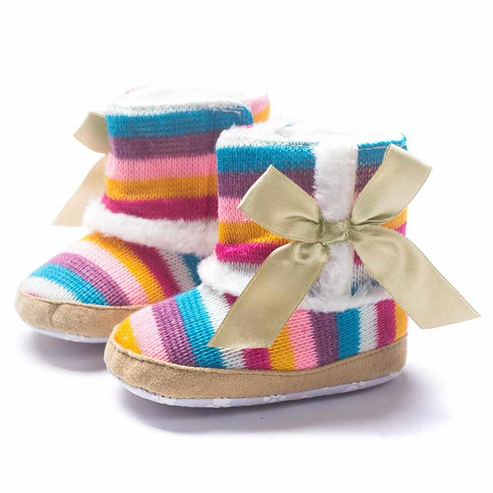 Winter Warm Baby Snow Boots Plus Velvet  Toddler Baby Rainbow Soft Sole Snow Boots Soft Crib Shoes Baby Girl Boots #BL5