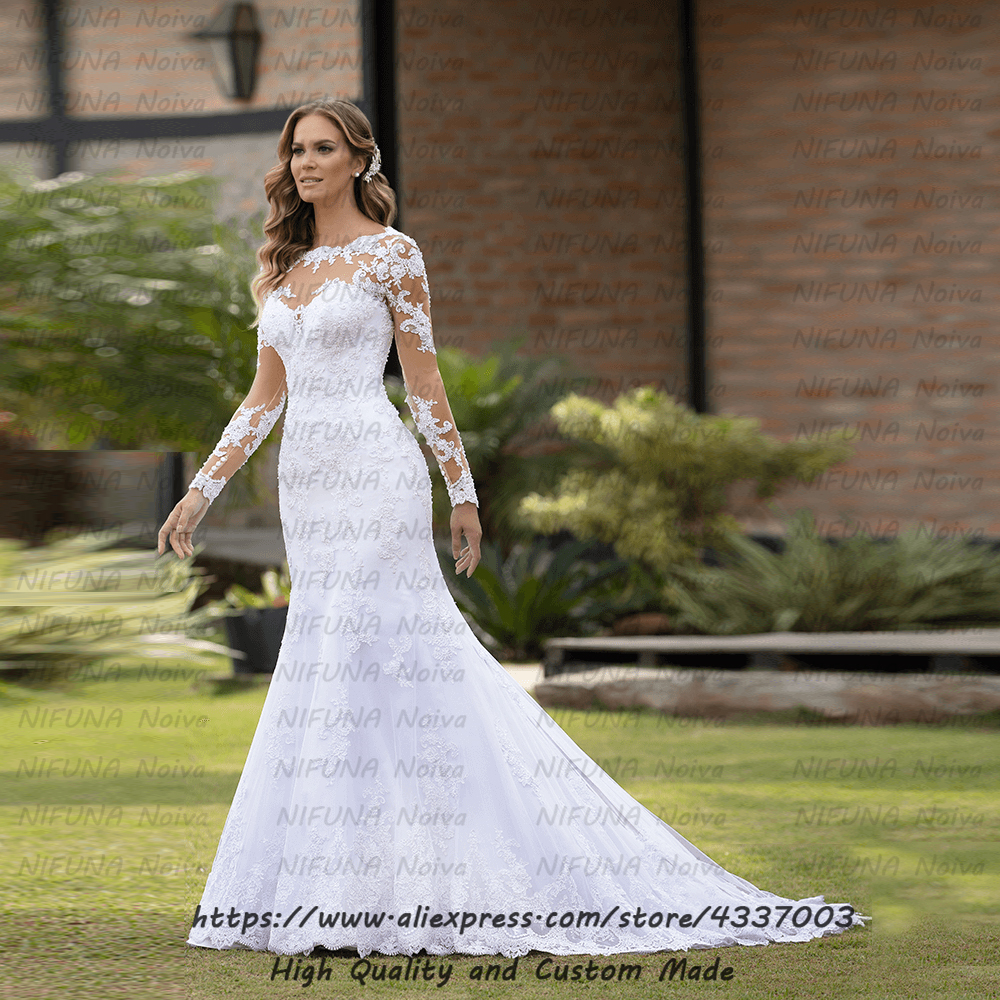 African Mermaid Wedding Dresses Romantic Appliqued Pearls Long