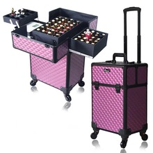 Femmes grande boîte de maquillage professionnel ongles cosmétique étui maquillage valise trolley
