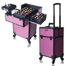 ผู้หญิงขนาดใหญ่กล่องProfessionalเล็บเครื่องสำอางค์Make Upรถเข็นกระเป๋าเดินทาง
