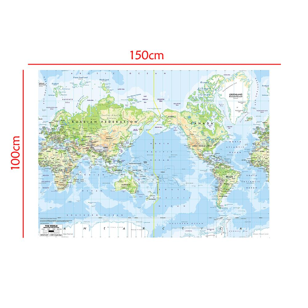 150x100cm The World Map Mercator Projection Foldable Waterproof World Map Without National Flag