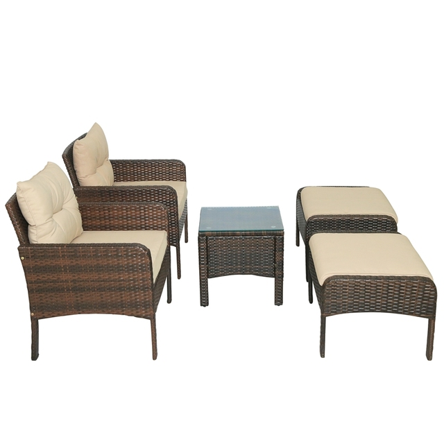 5-Piece PE Rattan Wicker Outdoor Patio Furniture Set With Glass Table 2