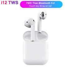 i12 TWS Touch Wireless Bluetooth V5.0 Double Earphones Headsets Stereo Ear Hook Earbud Sports Music Headphone For xiaomi Mi 8 9
