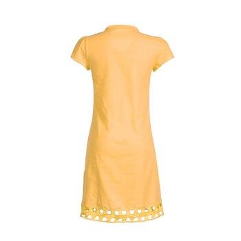 New Women Short Sleeve Dress Solid V Neck Summer Beach Cotton Linen Casual Kaftan Maxi Loose Tops Dresses Plus Size S-3XL 5