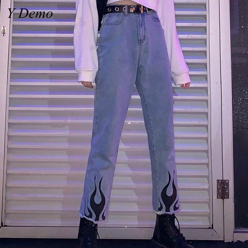 Streetwear Harajuku Flame Printing Casual Women Jeans Rock Blue Denim Straight Pants