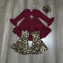 Primavera/Inverno del bambino delle ragazze del vestito dei bambini vestiti di cotone ruffles vino leopardo Gesù croce increspature dei pantaloni a zampa delefante partita arco
