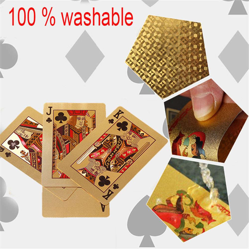 Golden Playing Cards Deck Of Gold Foil Pokers Set Magic Cards 24K Gold Plastic Foil Pokers Durable Waterproof Cards