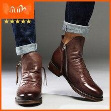 Männer Leder Stiefel 2021 Fashion High-top Quaste Zip PU Leder Schuhe Herbst Winter Stiefeletten Männer Martin Stiefel plus Größe 48