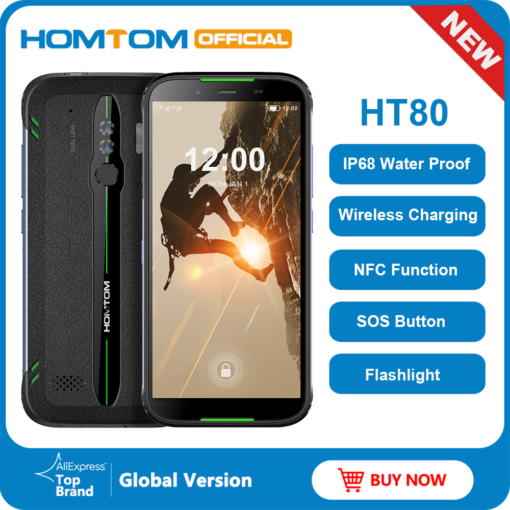 HOMTOM HT80 Android 10 IP68 Waterproof LTE-4G Mobile Phone 5.5 Inch 18:9 HD+ MT6737 Quad Core NFC Wireless Charge SOS Smartphone